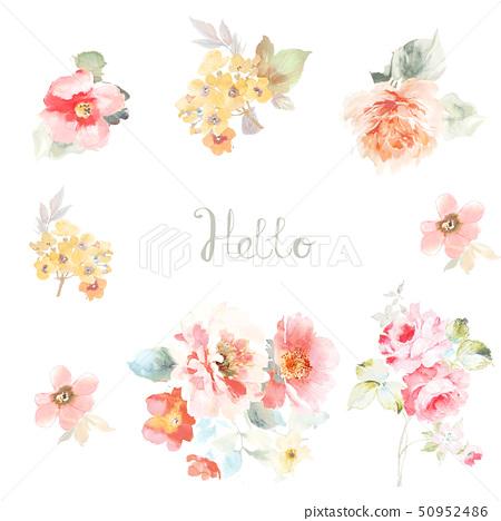 美麗的水彩玫瑰花和牡丹花 50952486
