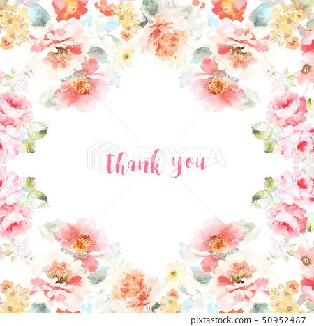 美麗的水彩玫瑰花和牡丹花 50952487