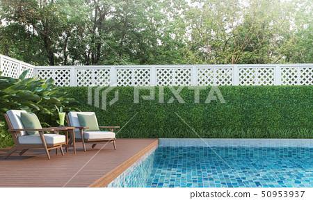 Swimming pool terrace in the garden 3d render 50953937