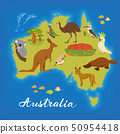 Australia map with cute animals. Vector poster with Australia map. Australian animals. 50954418
