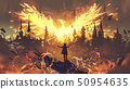 magician summoning the phoenix creature 50954635
