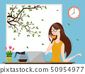 Young woman enjoying coffee and working on laptop 50954977