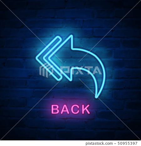 Vector illuminated neon light icon sign return 50955397