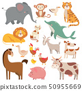 Child cartoons elephant, gull, dolphin, wild animal. Pet, farm and jungle animals vector cartoon 50955669