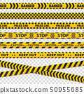 Caution perimeter stripes. Isolated black and yellow police line do not cross for criminal scene 50955685