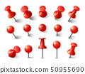Red pushpin top view. Thumbtack for note attach collection. Realistic 3d push pins pinned in 50955690