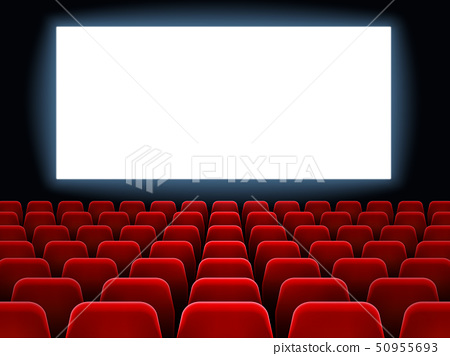 Movie premiere event at cine theatre. Cinema white blank screen at movie hall interior with empty 50955693