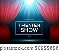Open red curtains on stage illuminated by spotlight. Dramatic theater or opera show scene 50955696