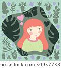 Red-haired girl in green jersey with dotted pattern. Gardening and planting hobby for children. 50957738