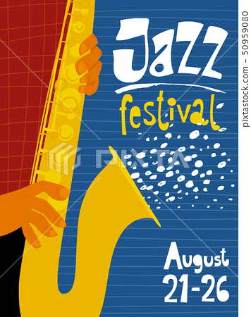 Vector jJazz concert invitation or advertisement with sax musician.  50959080