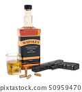 Whiskey bottle with gun and bullets, 3D rendering 50959470