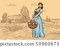 village woman with a basket of mushrooms. engraving effect 50960673
