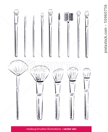 Hand drawn vector set of line art makeup brushes kit  50960756