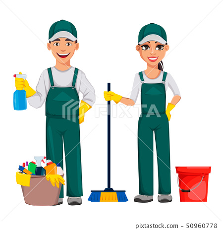 Cleaning service concept. Cheerful cartoon 50960778