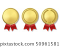 Vector 3d Realistic Gold Award Medal Icon Set with Color Ribbons Closeup Isolated on White 50961581