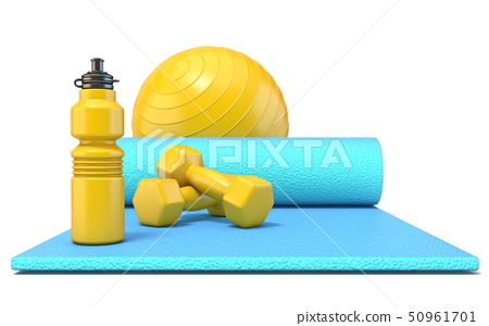Exercise mat with weights, fitness ball and watter 50961701