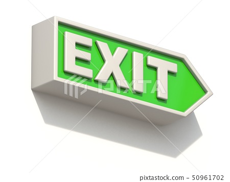 Green EXIT sign on white wall 3D 50961702