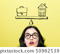 Work and life balance with young woman 50962539