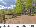 Wooden deck with cloudy skies and green trees 50962908
