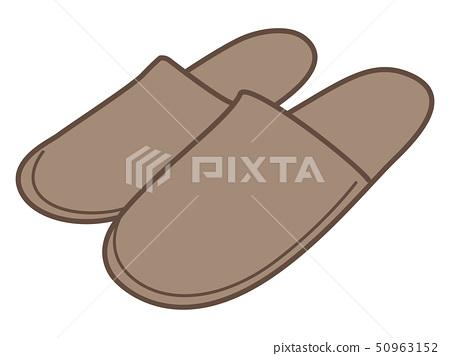 Simple slippers (brown) 50963152