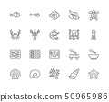 Set of Seafood Line Icons. Fishbone, Fish, Flounder, Eel, Turtle, Crab and more. 50965986