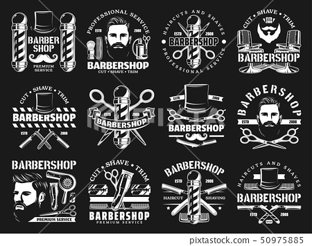 Barbershop premium haircut salon, beard shaving 50975885