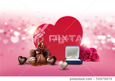 Valentines day with heart, red roses and gift box 005 50979870