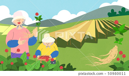 illustration of farmer and fisherman, Spring agricultural products 004 50980011