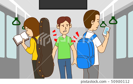 illustration of Public etiquette concept, how to behave in public places. 018 50980112