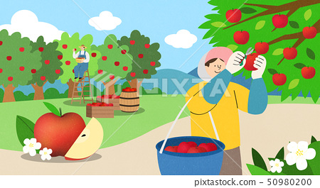 illustration of farmer and fisherman, Spring agricultural products 009 50980200