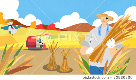 illustration of farmer and fisherman, Spring agricultural products 007 50980206
