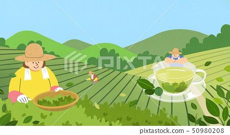 illustration of farmer and fisherman, Spring agricultural products 006 50980208