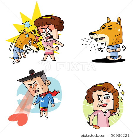 Emoji character cartoon with different emotions set 022 50980221
