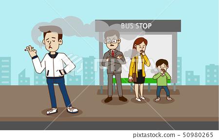 illustration of Public etiquette concept, how to behave in public places. 001 50980265