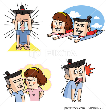 Emoji character cartoon with different emotions set 002 50980275