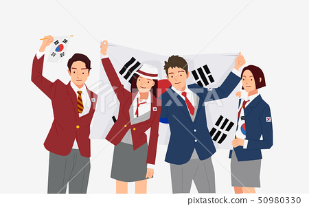 Illustration of Independence movement in March concept with Taegeukgi, Korean national flag 001 50980330