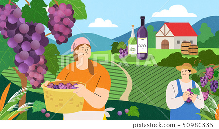 illustration of farmer and fisherman, Spring agricultural products 008 50980335