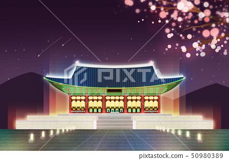 Night scene of traditional palaces in Seoul, Korea illustration 006 50980389