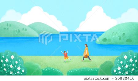 Beautiful spring landscape illustration, spring has sprung! 003 50980416
