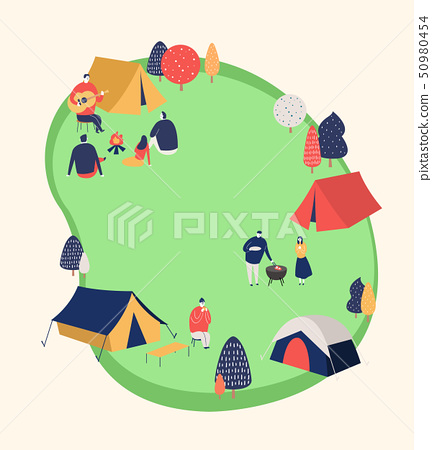 An outside festival event with entertainment in spring time vector illustration 007 50980454