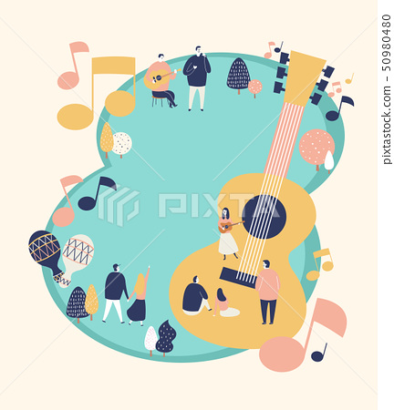An outside festival event with entertainment in spring time vector illustration 003 50980480