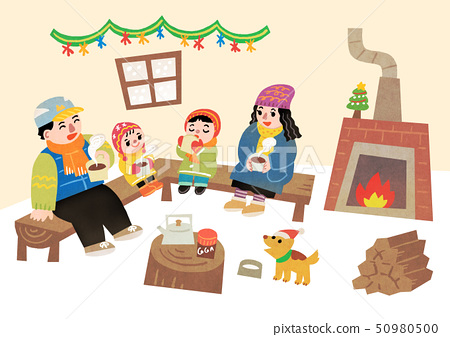 Happy family having a good time in winter. Family enjoy their holiday vector illustration 010 50980500