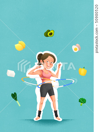 health care and body balance concept, lose weight and exercise vector illustration 005 50980520