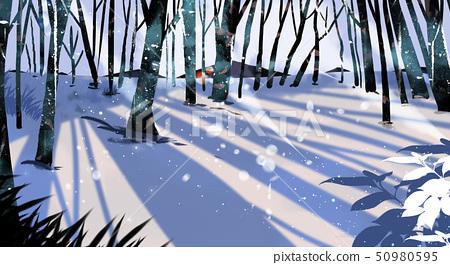 Beautiful winter landscape painting illustration 009 50980595