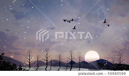 Beautiful winter landscape painting illustration 004 50980599