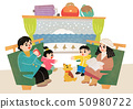 Happy family having a good time in winter. Family enjoy their holiday vector illustration 008 50980722