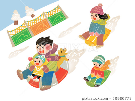Happy family having a good time in winter. Family enjoy their holiday vector illustration 004 50980775