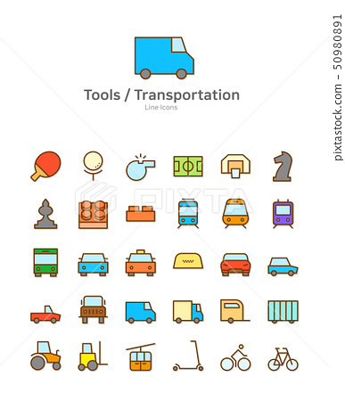 Set of line modern color icons for mobile and web design vector illustration 044 50980891
