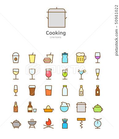 Set of line modern color icons for mobile and web design vector illustration 050 50981022