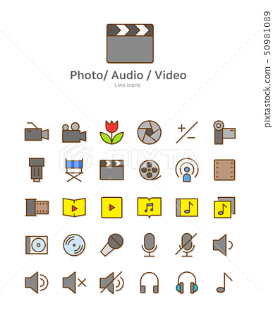 Set of line modern color icons for mobile and web design vector illustration 015 50981089